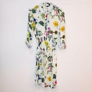 ZARA MIDIKLEID TUNIKA BLUMENMUSTER LONG FLOWER FLORAL PRINTED TUNIC DRESS S M L